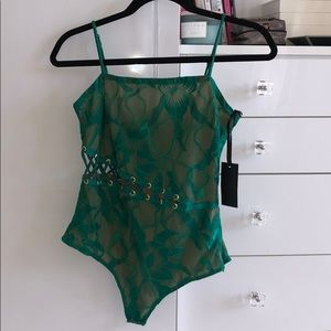Revolve H:ours Green Lace Up Bodysuit